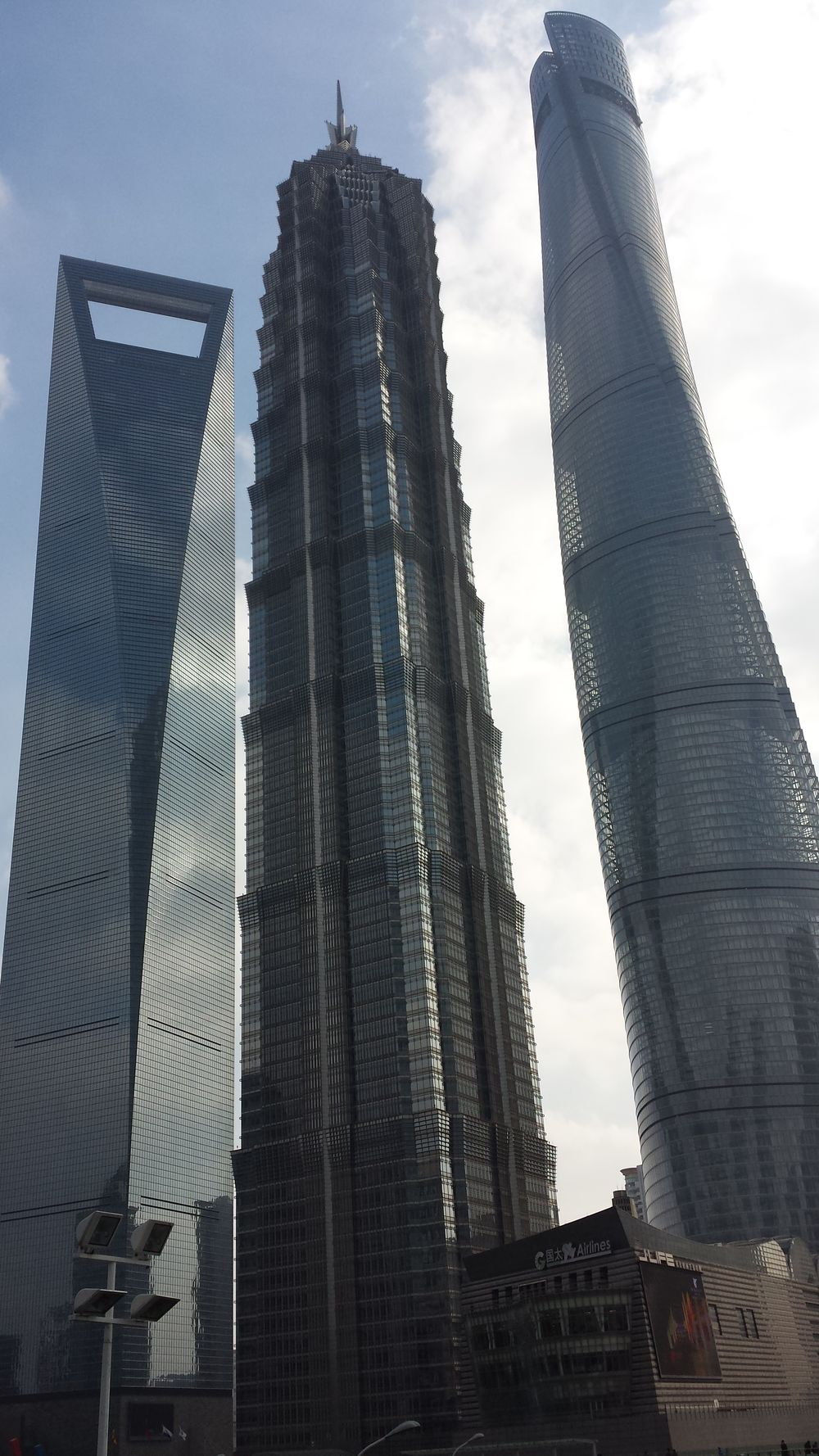 Top three towers in Shanghai. China Skycraper Tower Shanghai Jin Mao Tower Shanghai Tower Décapsuleur Shanghai World Financial Center Reflection Sky