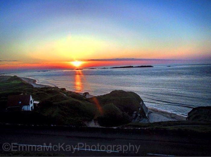 Sunset over the beach! Sunset Beach Beachphotography Outdoors Water Sea Sky No People Sun Amaturephotography Northern Ireland