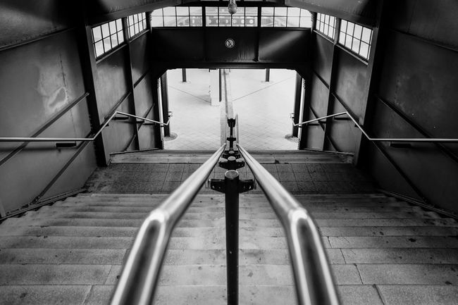 the handrail ... Architecture Bahnhof Berlin Black And White Ceiling Connection Diminishing Perspective Eichkamp Empty Handrail  Metal Railing S-bahnhof Staircase Stairs Station Steps Steps And Staircases Subway The Way Forward