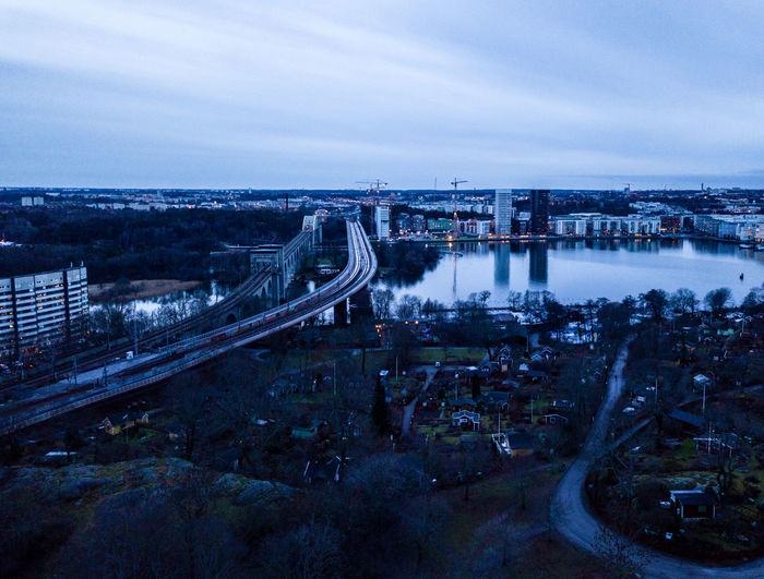DJI X Eyeem Liljeholmen Tantolunden Aerial View Architecture Bridge - Man Made Structure Building Exterior Built Structure City Cityscape Connection Drone Photography High Angle View Lake Nature No People Outdoors Sky Skyscraper Transportation Urbanphotography Water Årstabron Årstaviken