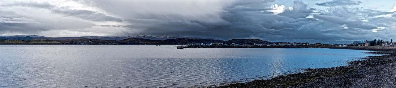 Photo Merge Photography Aultbea In Scotland Loch Ewe Cloudy Sky 💙 Day Dwellings Mountains And Sky No People Sea Loch Stoney Beach Stormy Sky Village View Water