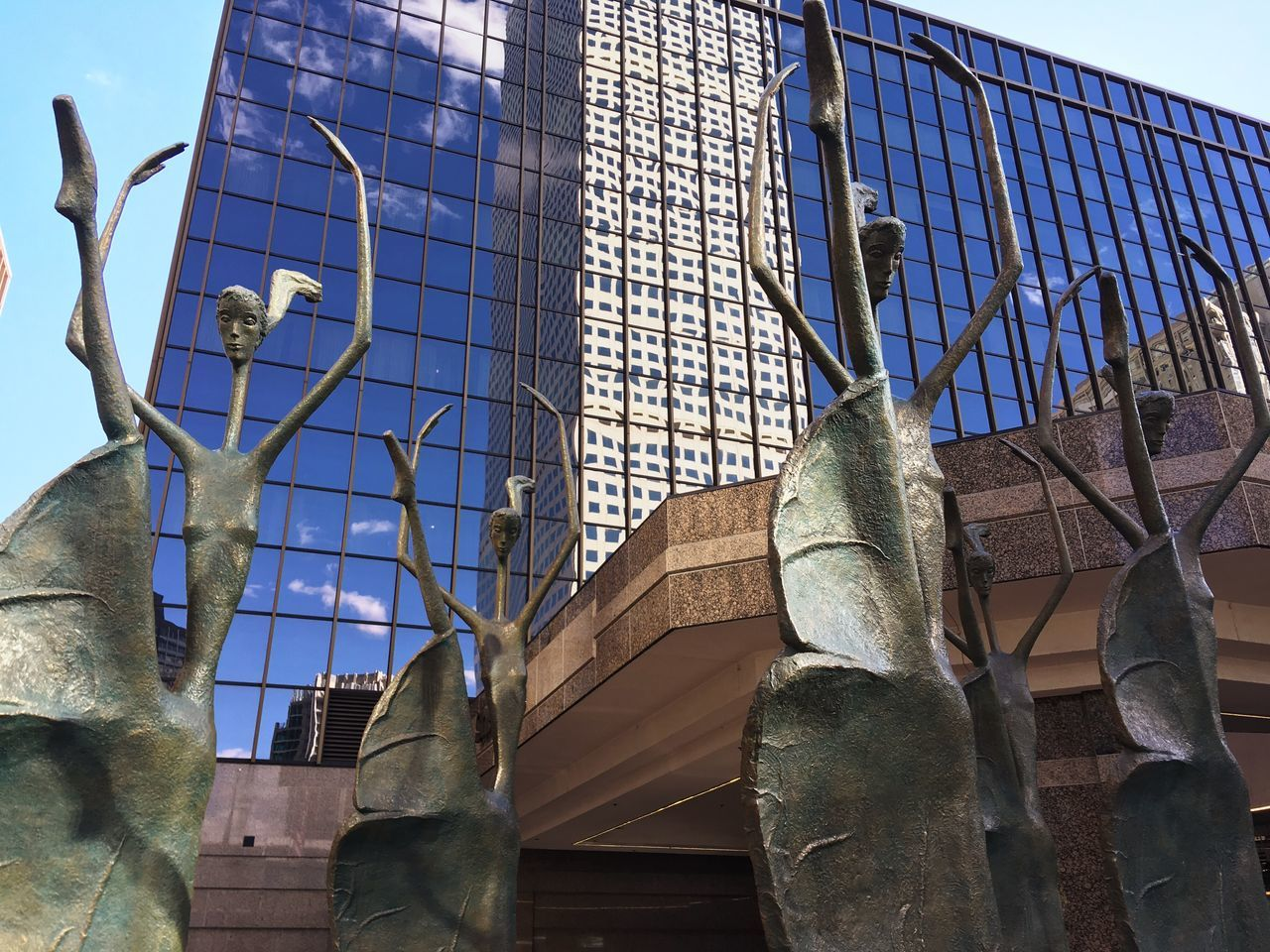 I came across these statues had to shoot it. Day No People Outdoors Modern City Sky Ballet Statues