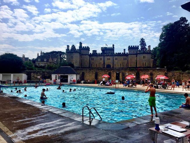 Lunchtime swim in the open air pool in Cirencester Poolside Architecture Sky And Clouds Swimming Pool Fitness Cotswolds Cirencester