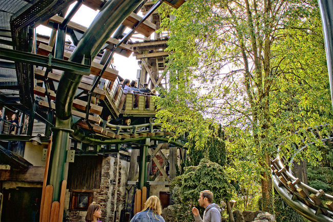 Amusementpark Architecture Building Exterior Building Story Built Structure City Life Day Footpath Freizeitpark Green Color HD Nature Outdoors Person Phantasialand Pretpark Tourism Tree