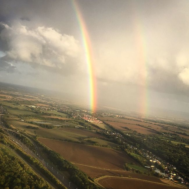 Rainbow Sky Beauty In Nature Cloud - Sky Nature Scenics Double Rainbow Landscape Idyllic No People Tranquility Outdoors Tranquil Scene Day Flight Flight View View From Above View From Plane  IPhone Photography IPhoneography IPhone 6s Paradise Peace Double Rainbows Agriculture