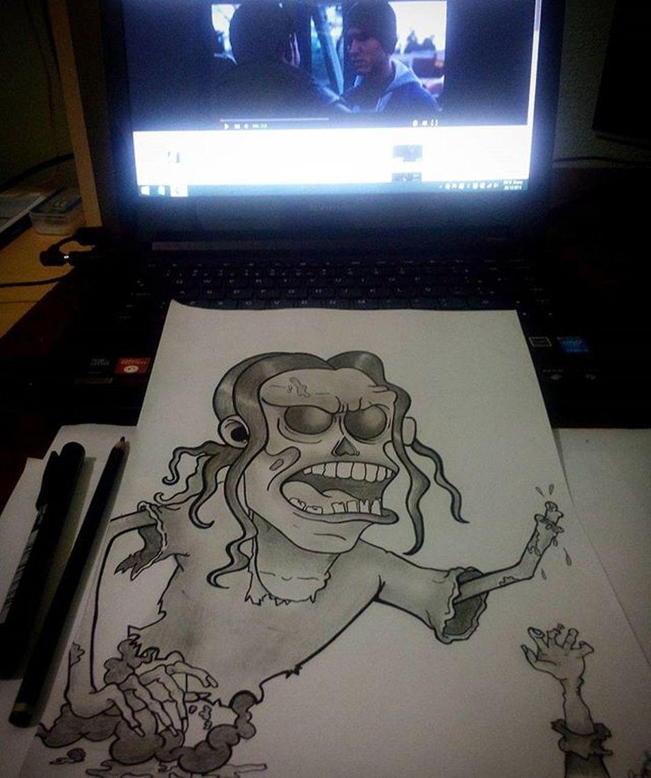 Ao som de Lose Yourself, boa noite! Sketch Drawing Zumbi Blackandgray