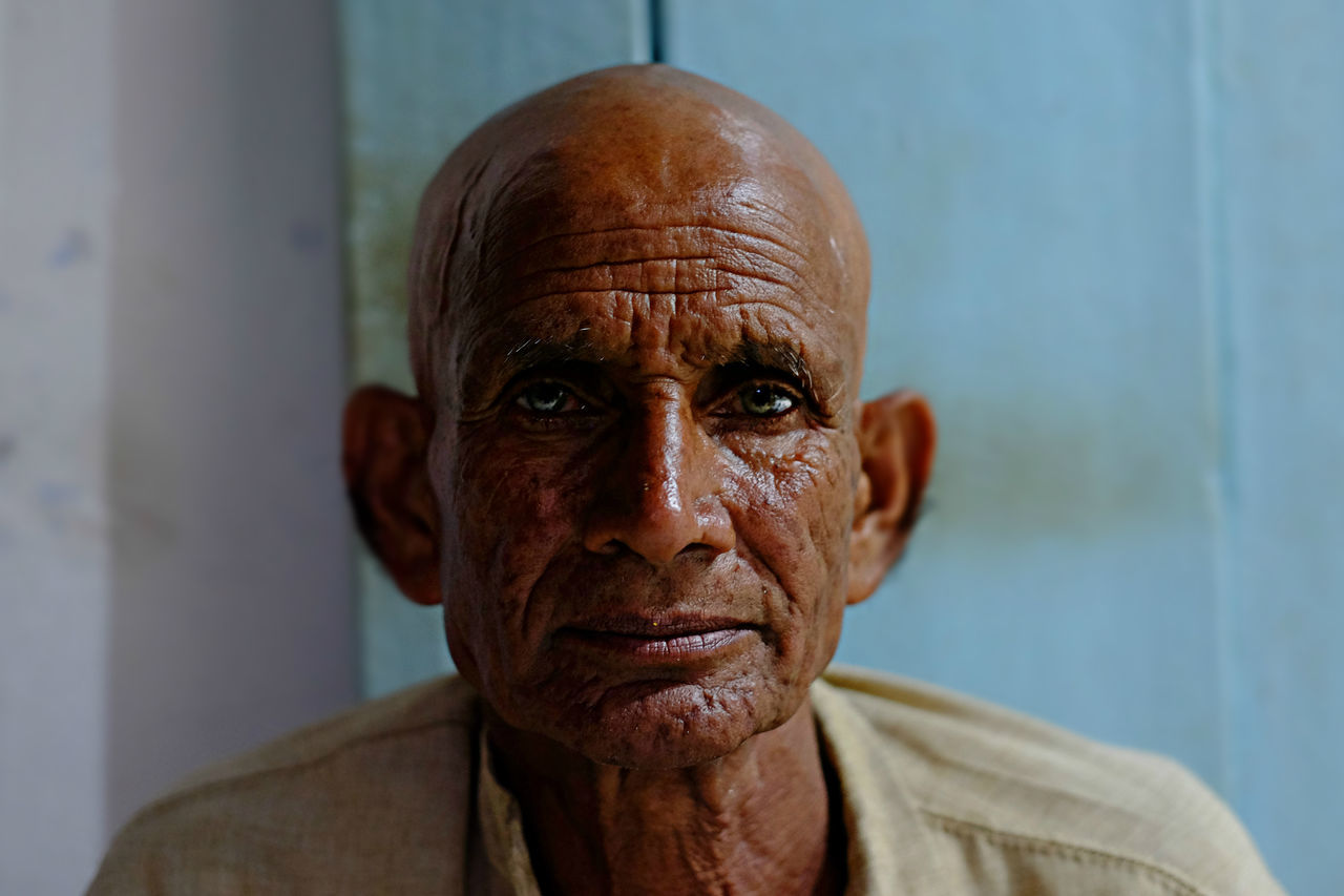 Authentic Moments | India 2016 Adult Adults Only Benares Blue Eyes Close-up Day Front View Headshot India Mature Adult One Man Only One Person Only Men People Photooftheday Poorpeople Portrait Portrait Photography Senior Adult The Week On EyeEem Tranquility Travel Varanasi, India Ganges, Indian Lifestyle And Culture, Bathing In The Ganges,