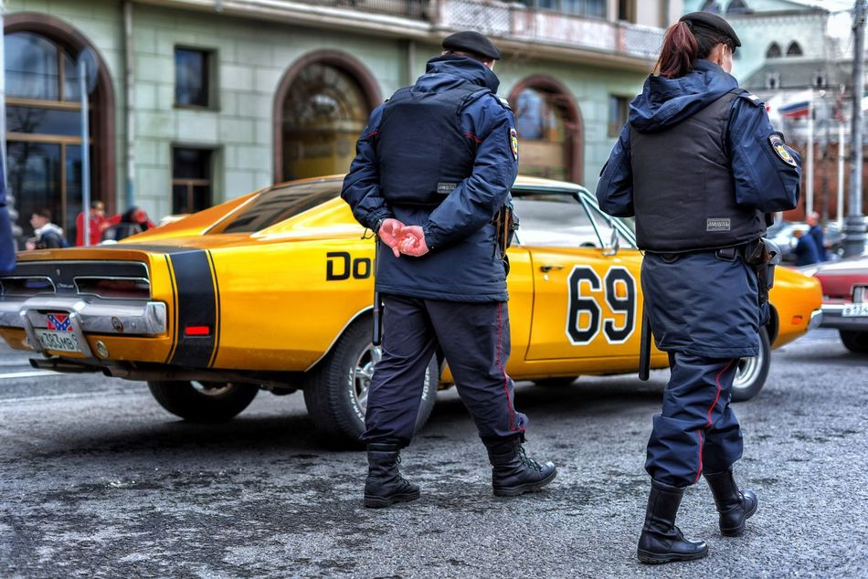 Police Force Taxi Car Yellow Taxi Street City Law City Street Rear View Men Jacket Yellow Retro Cars Dodge Speed Transportation City Life Police Uniform Full Length Building Exterior Day Outdoors Standing Adult