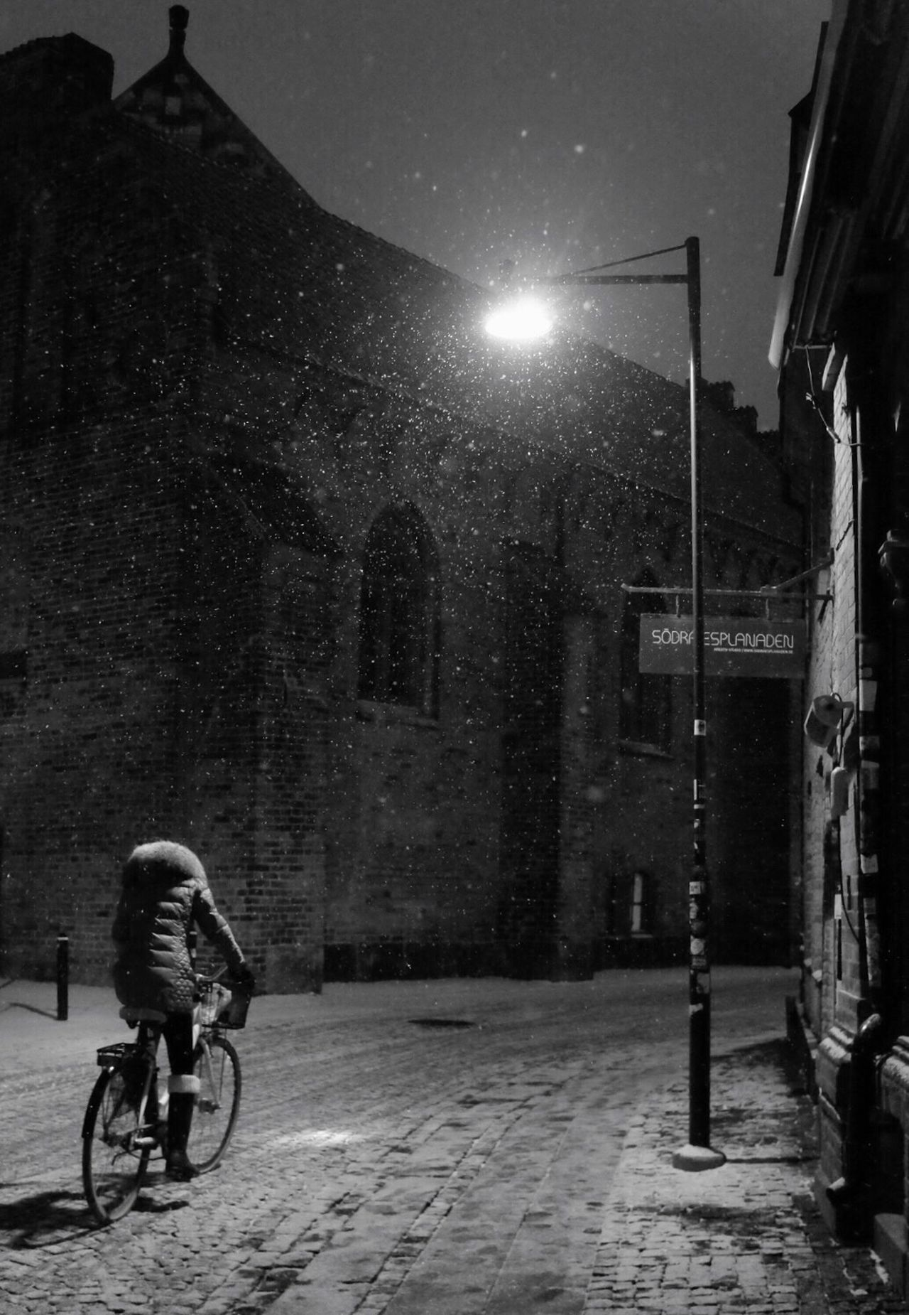 Snow Street Photography Bw_collection Monochrome Winter Night Mode Of Transport Black And White Darkness And Light