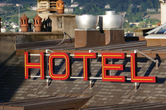 Geneve Hotel Neon Sign No People OverviewPoint Red Switzerland