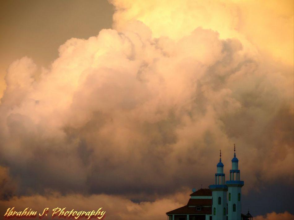 Evening Sky Clouds Gaza Port Mosque Ibrahim S Photography