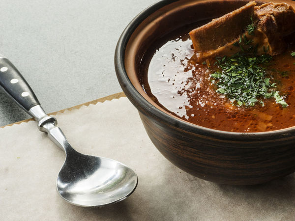 Ukrainian and russian national red borsch with veal ribs Borsch National Red Ukrainian  Close-up Day Food Food And Drink Freshness Healthy Eating High Angle View Indoors  No People Ready-to-eat Ribs Russian Table Veal