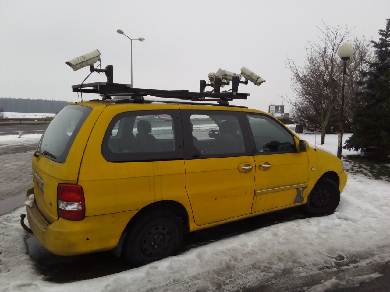 Adapted To The City Car Transportation No People Yellow Day Camerashootout Cold Temperature Winter Securitycam
