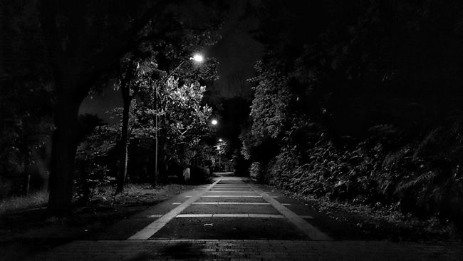 Night Road Nightphotography Night Lights Silence Black And White Monochrome Vanishing Point Light And Shadow Darkness And Light