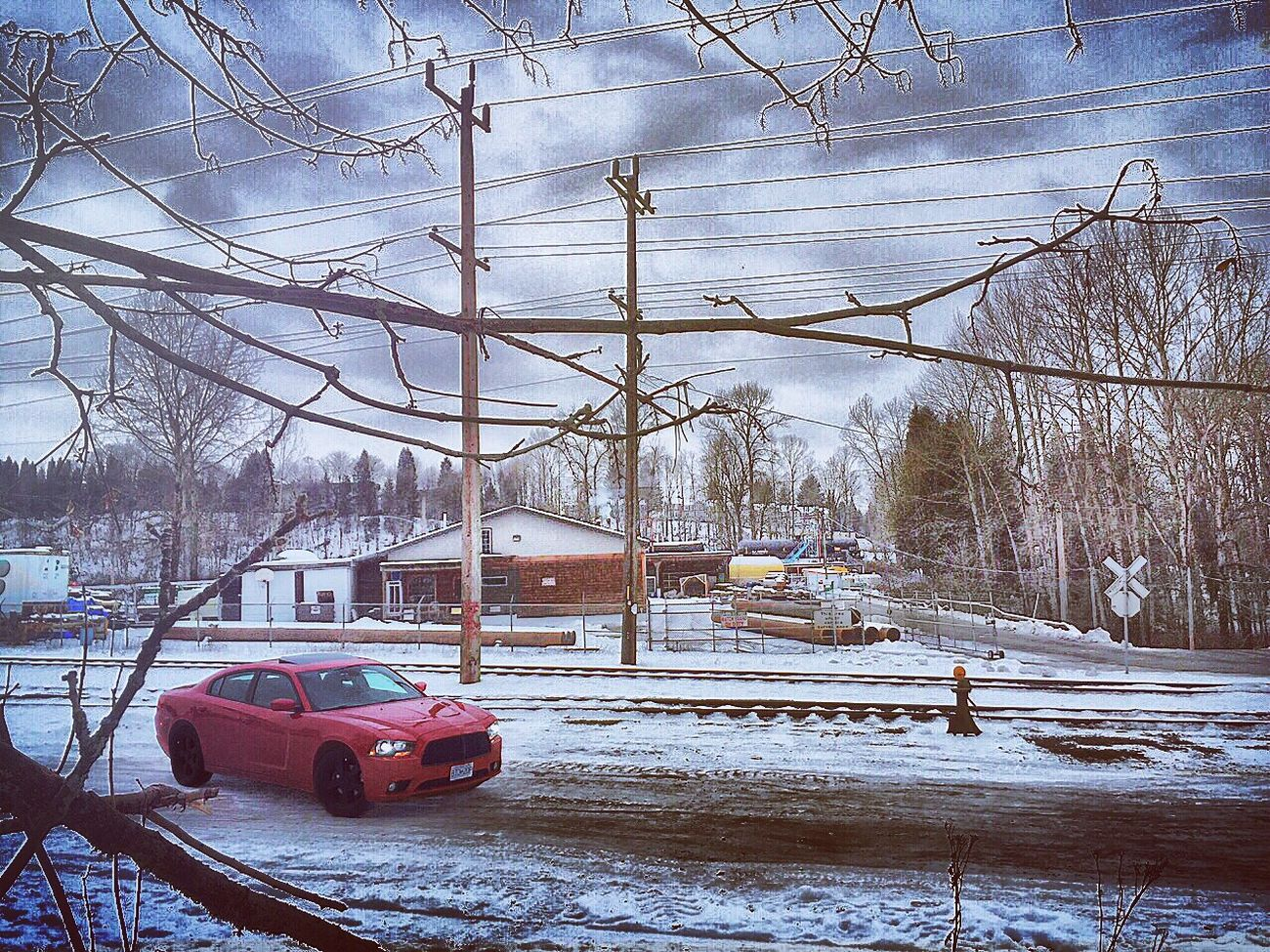 New to this app going to be a lot of of my car and nature hope you like 😬 Dodge Dodgecharger Charger Snow Picturetaking (null)Winter Cold Temperature Transportation Nature Sxt Rallye Mopar Moparornocar Car Tree Railroad First Eyeem Photo