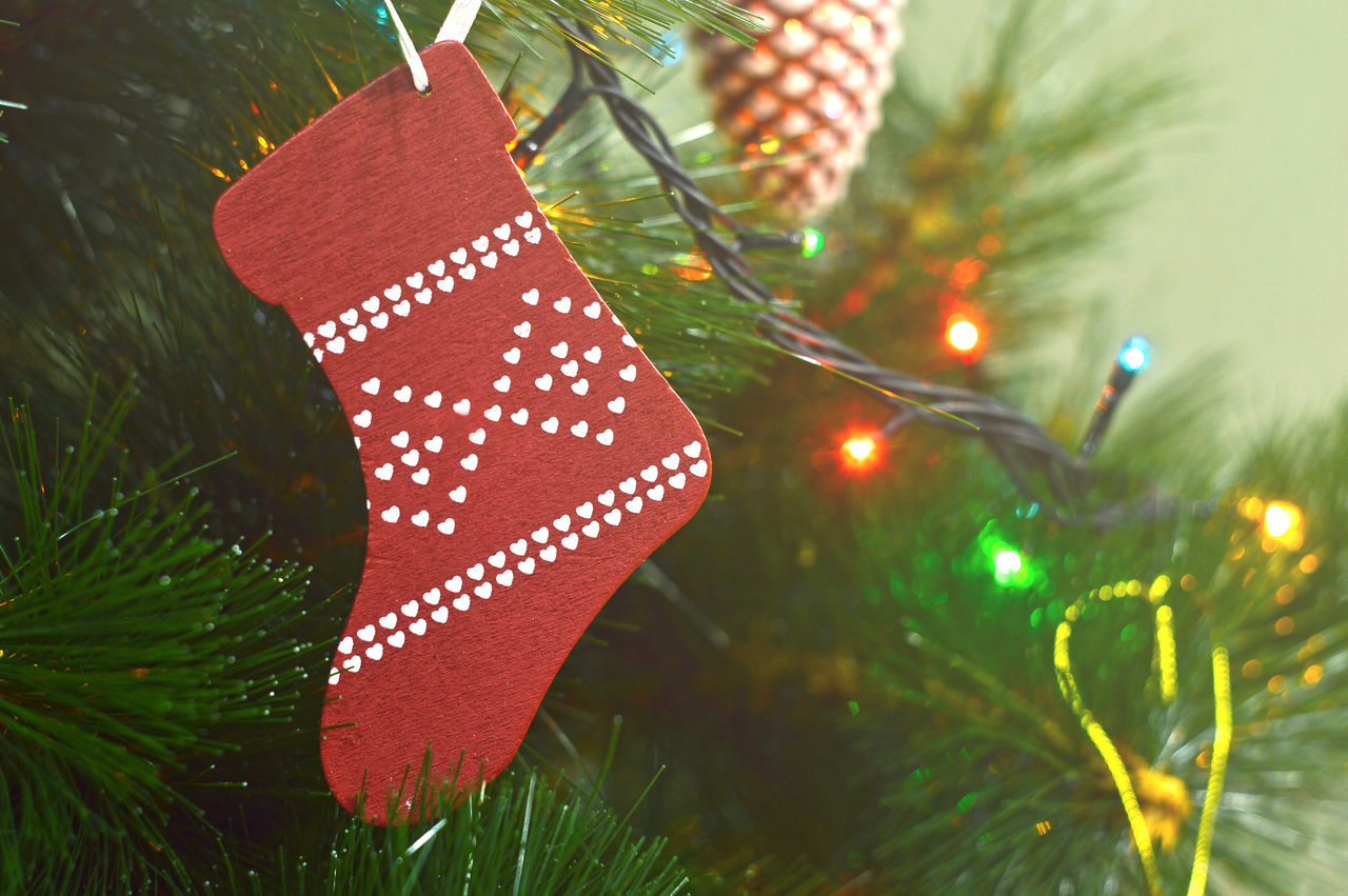 Christmas sock hanging on Christmas tree Beauty Branch Celebration Christmas Bauble Christmas Decoration Christmas Lights Christmas Ornament Christmas Tree Close-up Colorful Green Color Holiday - Event Illuminated Light No People Outdoors Pine Red Shiny Snow Toy Tradition Tree