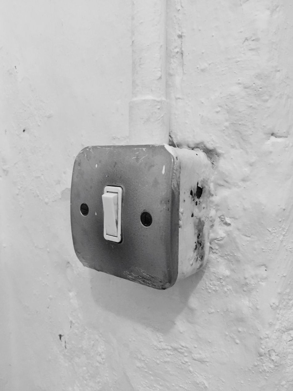 Electricity  Connection Switch Fuel And Power Generation Old Update Light Switches Flick  Rusty Change Danger Oldschool Indoors  No People Day Close-up Institution Institutional Buildings In Need Of Repair Change Your Perspective Replace Lightswitch Click
