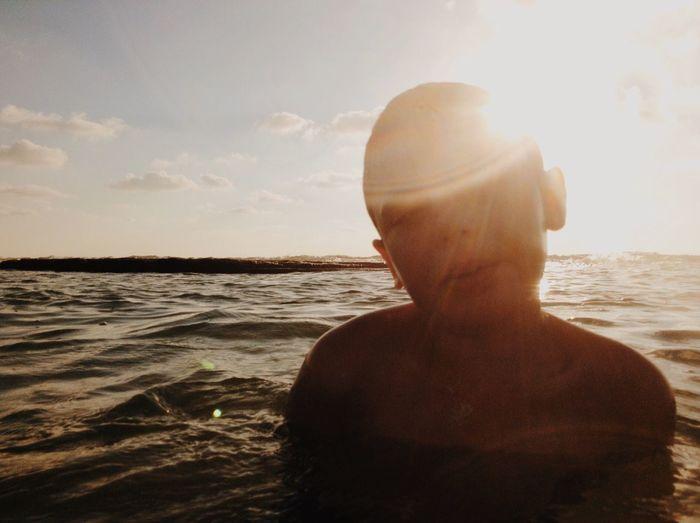 Sea Water One Person Shirtless Beach The Portraitist - 2017 EyeEm Awards Rear View Outdoors Long Goodbye Sunset Horizon Over Water Day People מייים מייגיא מייאייפוד Shotonipod Ipod EyeEm Diversity TCPM TCPM Sommergefühle