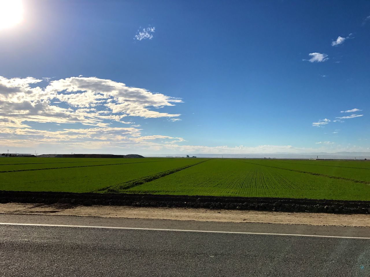 """""""Blue Sky, Green Field, Cold Asphalt"""" A stretch of backroad from CA-99 in Bakersfield, CA to I-5 traverses through the rich farming country of Central California. Sky Landscape Field Rural Scene Agriculture Scenics Green Color Cloud - Sky Farming Highways Backroads California Asphalt"""