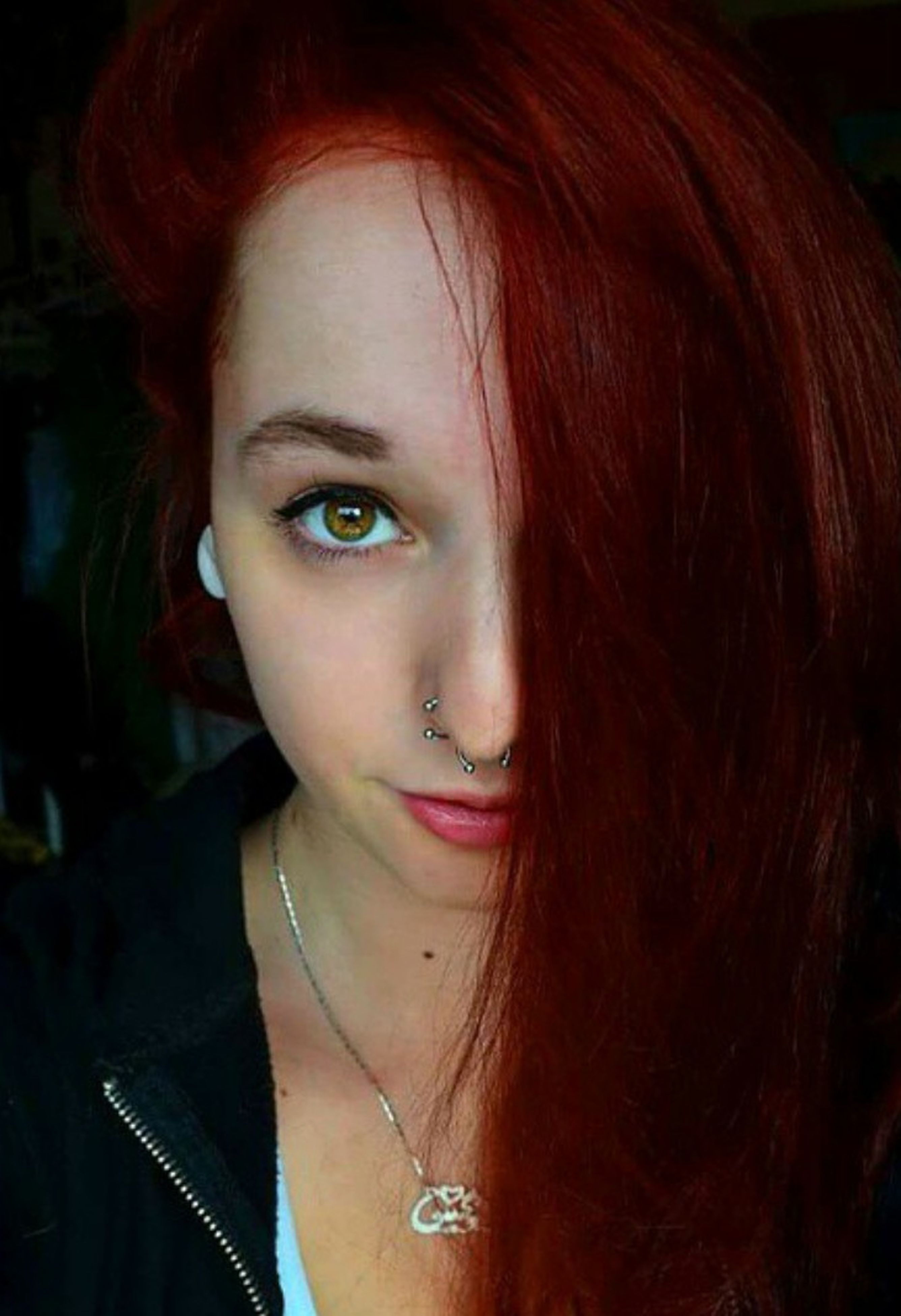 young adult, person, headshot, close-up, long hair, lifestyles, young women, looking at camera, red, human eye, green color