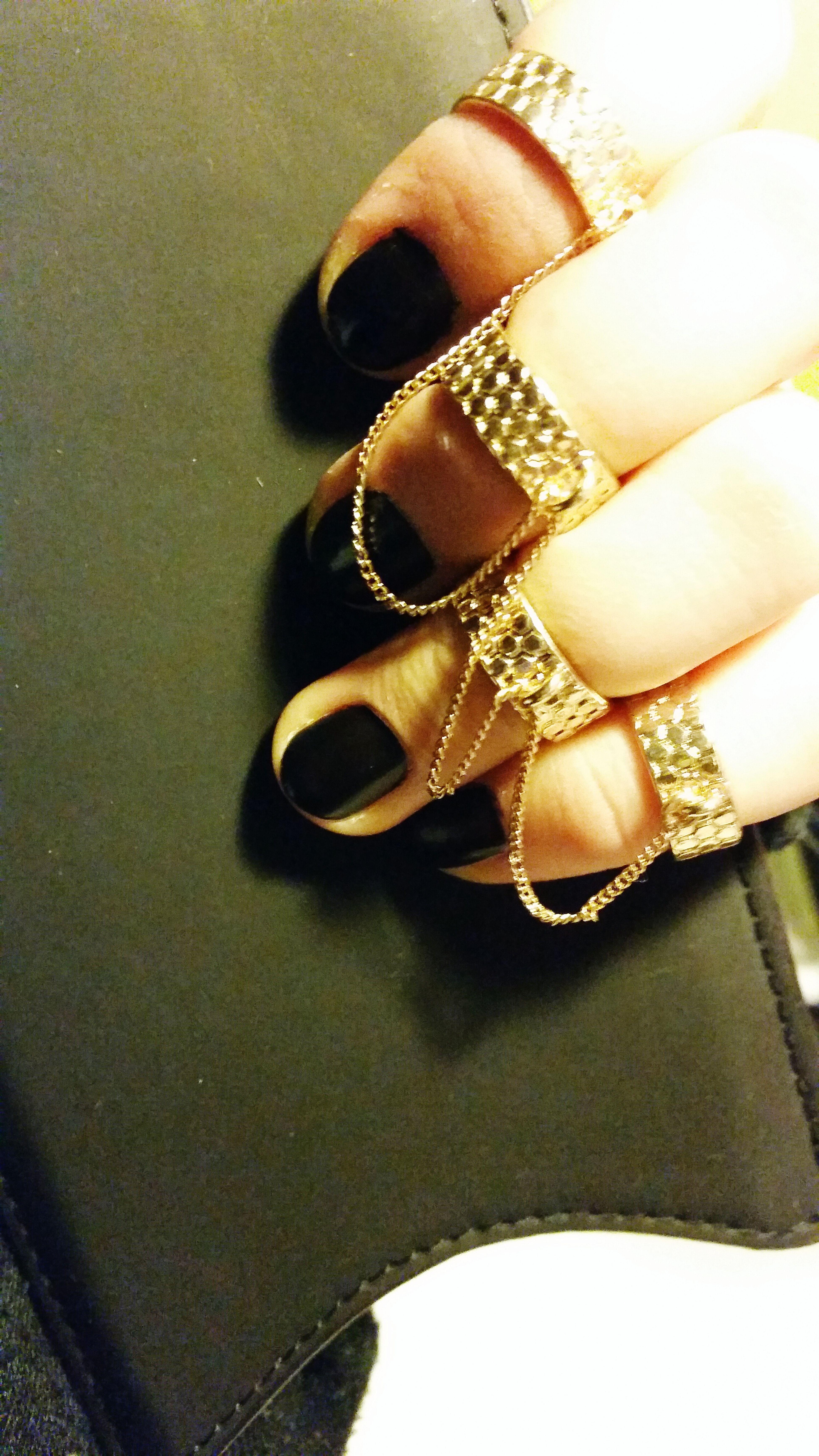 Streetfashion AllFingerRings GoldOnBlack Blacknails  Pretty
