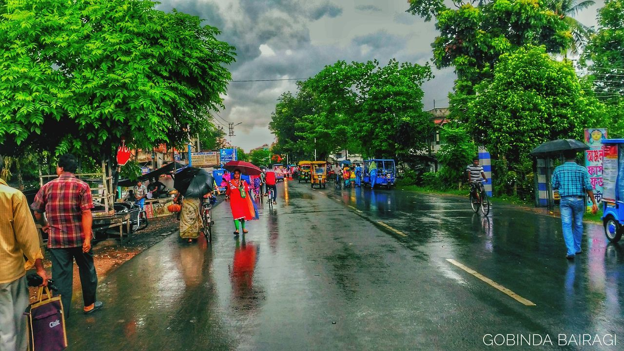 rain, wet, water, rainy season, tree, real people, large group of people, cloud - sky, men, sky, day, nature, women, outdoors, flood, multi colored, people