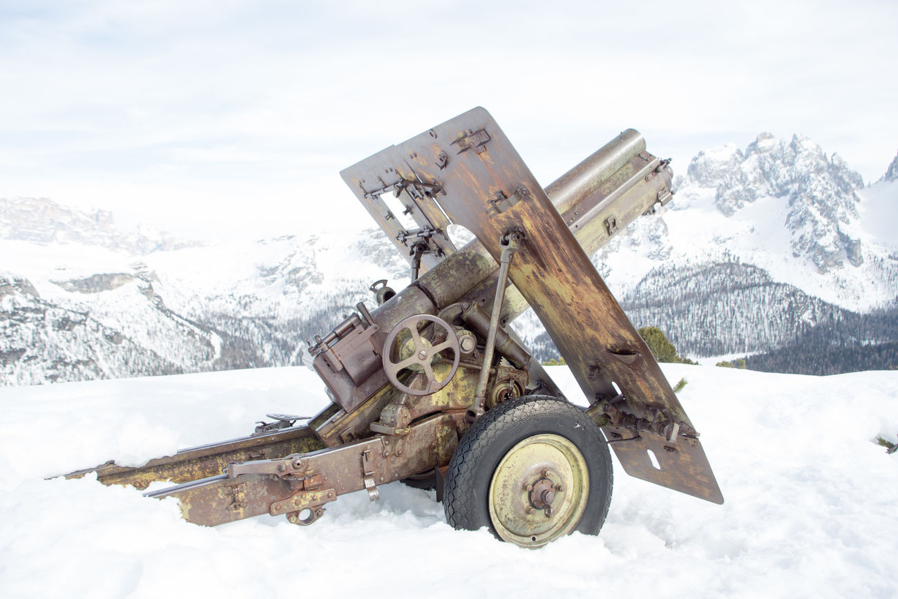 Gun from WW1 in Dolomites Apls Cannon Cold Temperature Day Dolomites Historic Italy Mountain No People Outdoors Sky Snow Suedtirol Veneto Winter Ww1
