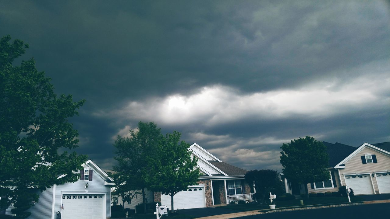 building exterior, built structure, house, architecture, cloud - sky, residential building, sky, storm cloud, tree, day, outdoors, no people, detached house, roof, nature, thunderstorm