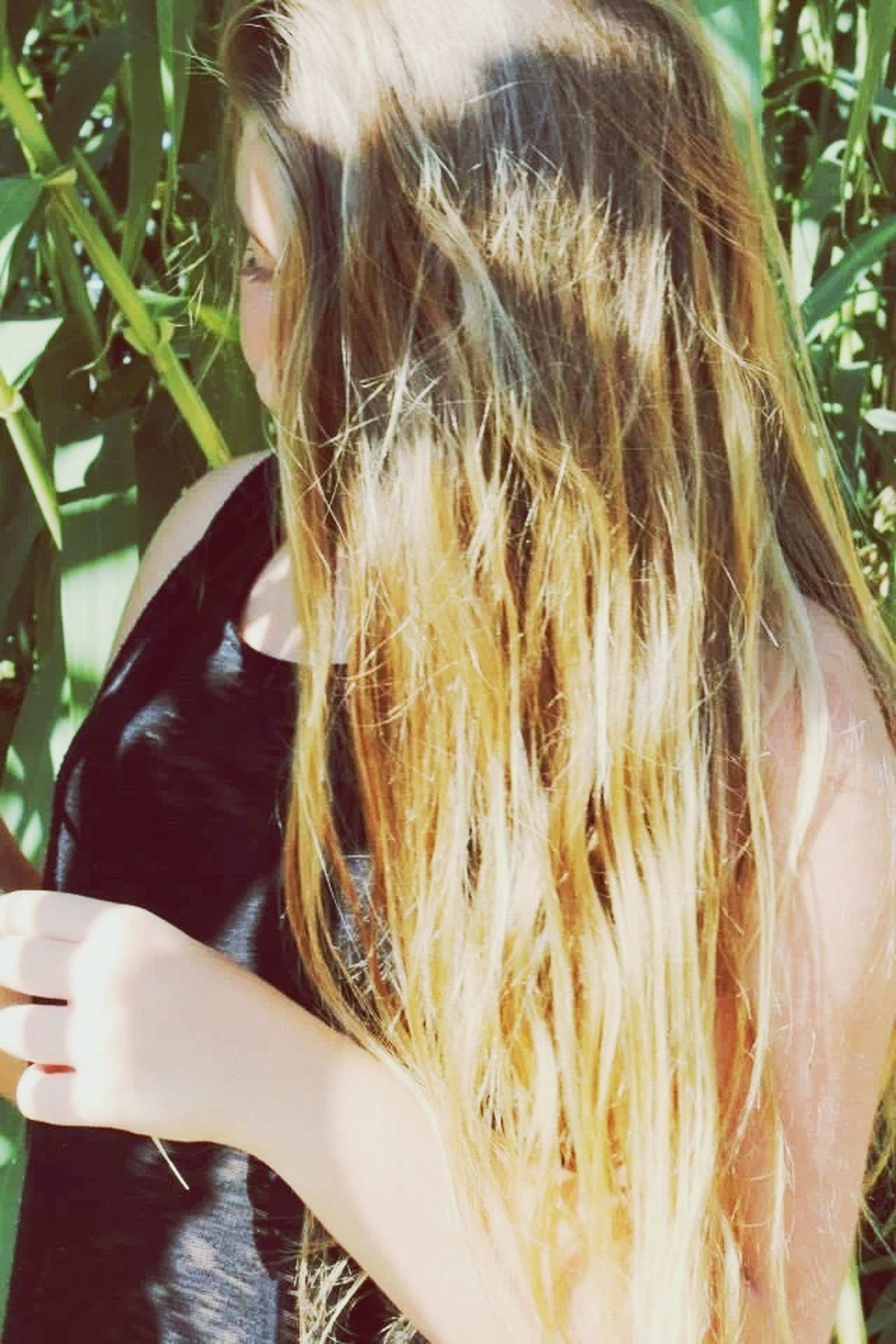 lifestyles, leisure activity, long hair, person, headshot, close-up, part of, human hair, holding, young women, brown hair, blond hair, cropped, focus on foreground, day