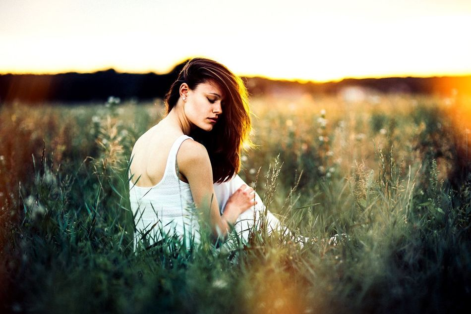Beautiful stock photos of freedom, field, young women, young adult, selective focus