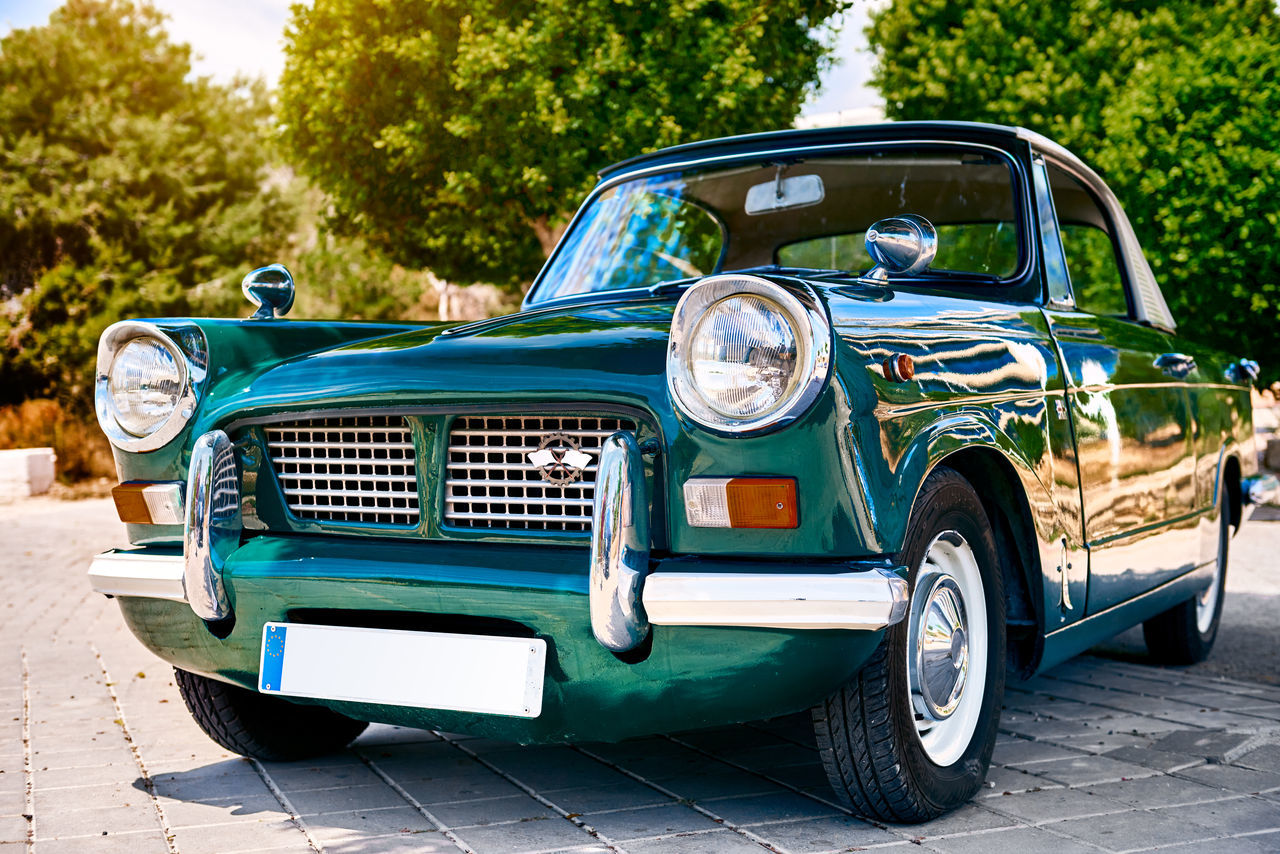 Retro car outdoors Auto Automobile Bright Colors Cabriolet Classic Car Design Green Color No People Nostalgia Nostalgic  Old Old-fashioned Outdoors Retro Car Road Sixties Street Summer Sun Sunny Day Sunshine Trees Urban Vehicle Vintage Car