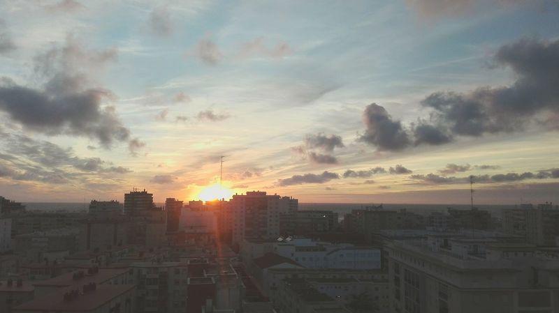 Sky Sun Clouds Sundown City Building Sea