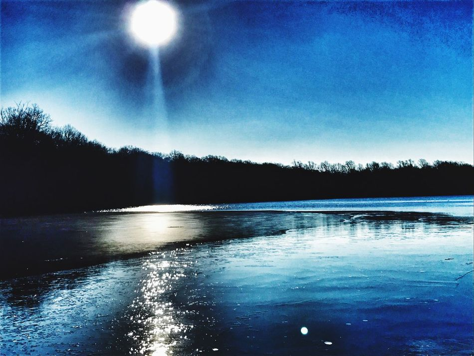 SunOnTheIce-StumpPond Water Nature Reflection Blue Beauty In Nature Smithtown USA Stump Pond Blydenburgh Park Long Island, Ny Sky Tranquility Tranquil Scene Lake No People Outdoors Tree Ice Moon Night Frozen Lake