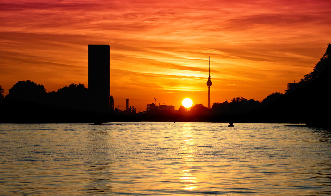 Architecture Beauty In Nature Berlin Building Exterior Built Structure City Day Fernsehturm Berlin  Nature No People Orange Color Outdoors Rummelsburger Bucht Silhouette Sky So Sonnenuntergang Sun Sunset Tree Treptower Park Water Waterfront Wolken
