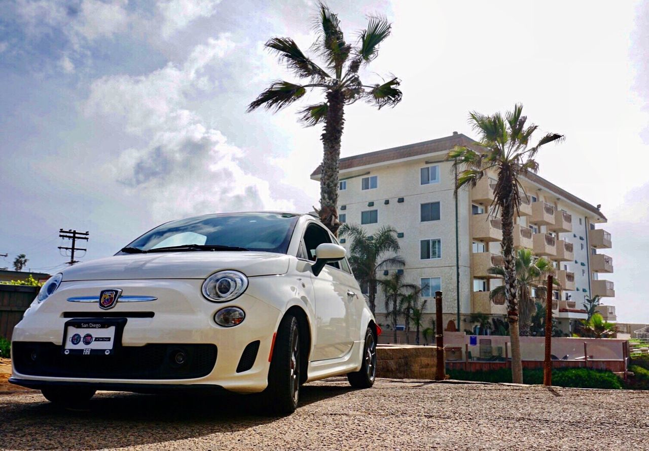 Fiat 500 Abarth Car Palm Tree Sky Cloud - Sky Tree Architecture Day Built Structure Luxury City No People Outdoors Water EyeEm Travel Destinations Mode Of Transport