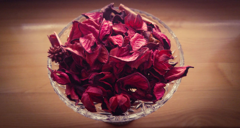 Potpourri Red Petals Crystal Bowl Wooden Board Background Simple Things In Life Simple Photography Minimalism