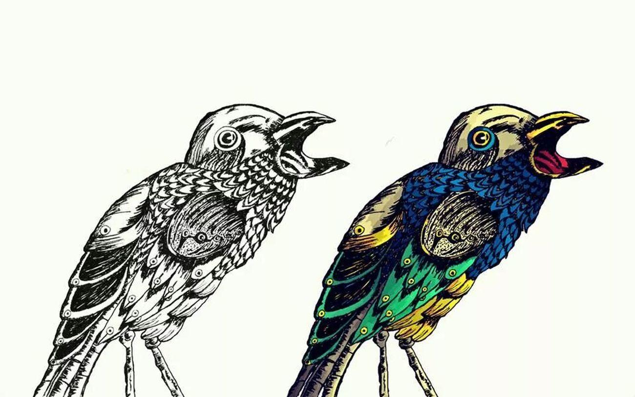 Chim chim chim! The Tree Academy Sketch Enjoying Life Bird