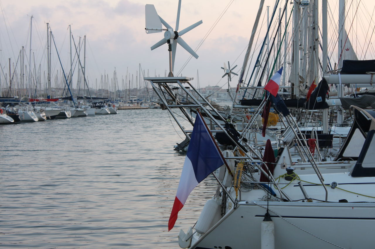 French flags on boats in Cap D'Agde Boats French Flag Sailing Sailing Ship Water Yachts