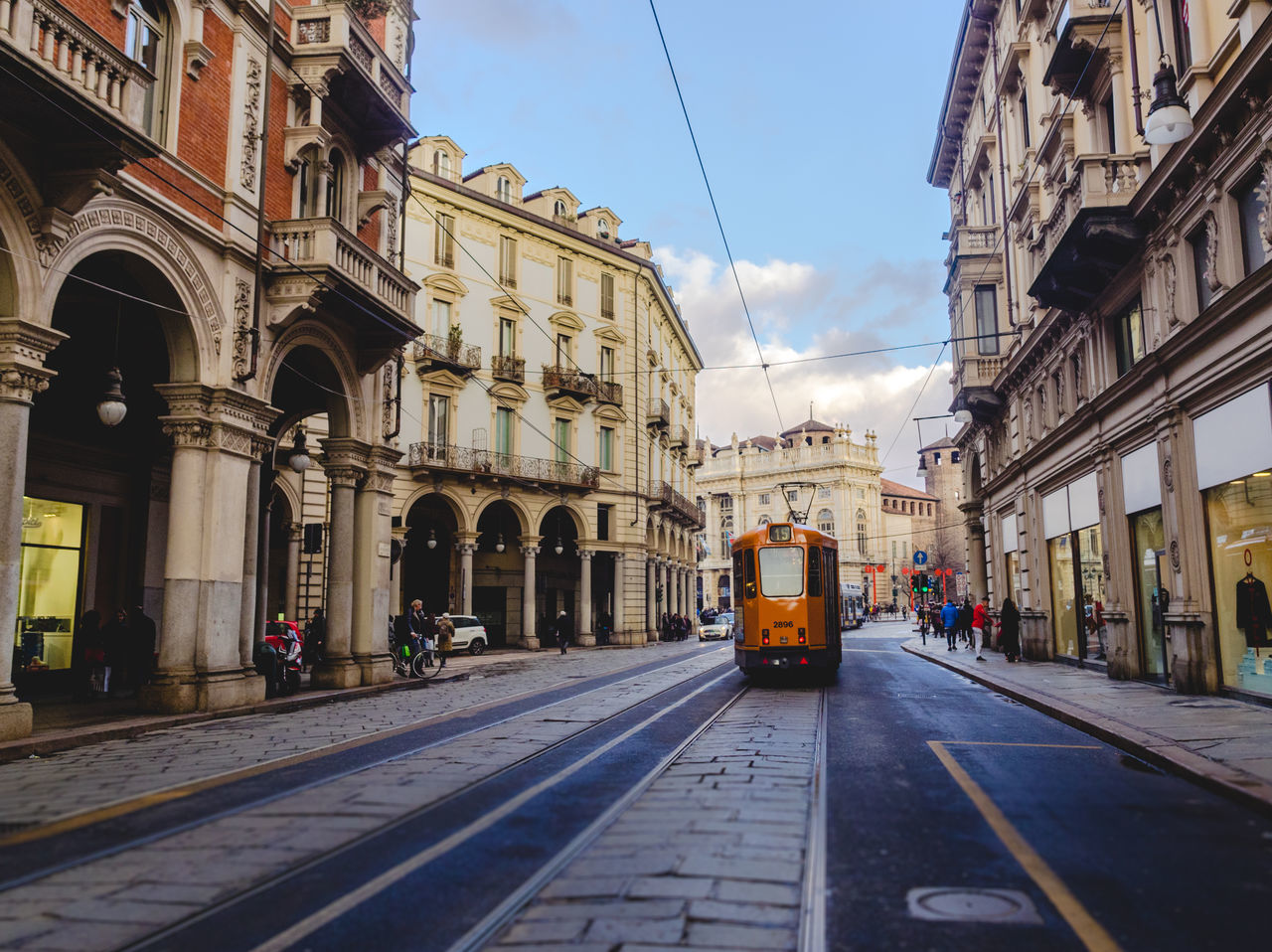 Torino street with tram N.15 Architecture Building Exterior Built Structure Cable Car City Day Dusk No People Outdoors Public Transportation Sky Sunset Torino Tram Tramway Transportation Travel Destinations