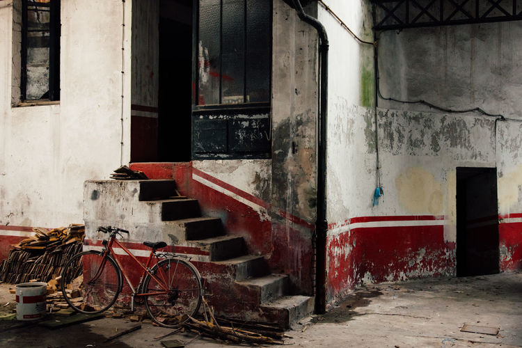Doors Lines Red Abandoned Architecture Auto Repair Shop Bike Building Exterior Built Structure Day Garage Indoors  Motor Garage No People Oil Station Steps Urbex Vintage Window