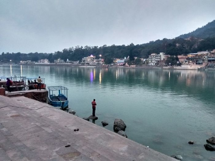 Beauty In Nature Mountain Nautical Vessel Night Lights Prayers Real People Rishikesh Water
