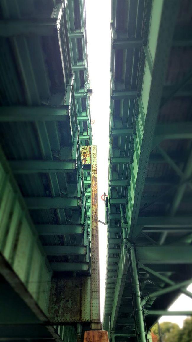 Divide. Underpassview Built Structure Bridge Bridge - Man Made Structure Low Angle View Cantilever Bridge Connection Separation Sky The (Mystic) Tobin Bridge EyeEm Best Shots Diminishing Perspective Green S6