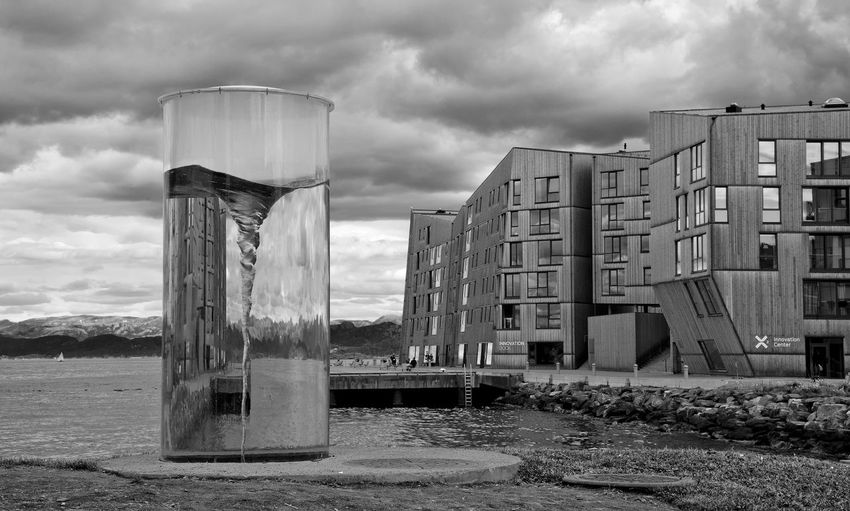 Art and apartments Adapted To The City Architecture Art Black And White Cloud - Sky Norge Norway Phiole Rogaland Siriskjeret Sjøparken Stavanger Urban Sjøfront Vannkanten EyeEmNewHere Welcome To Black Art Is Everywhere