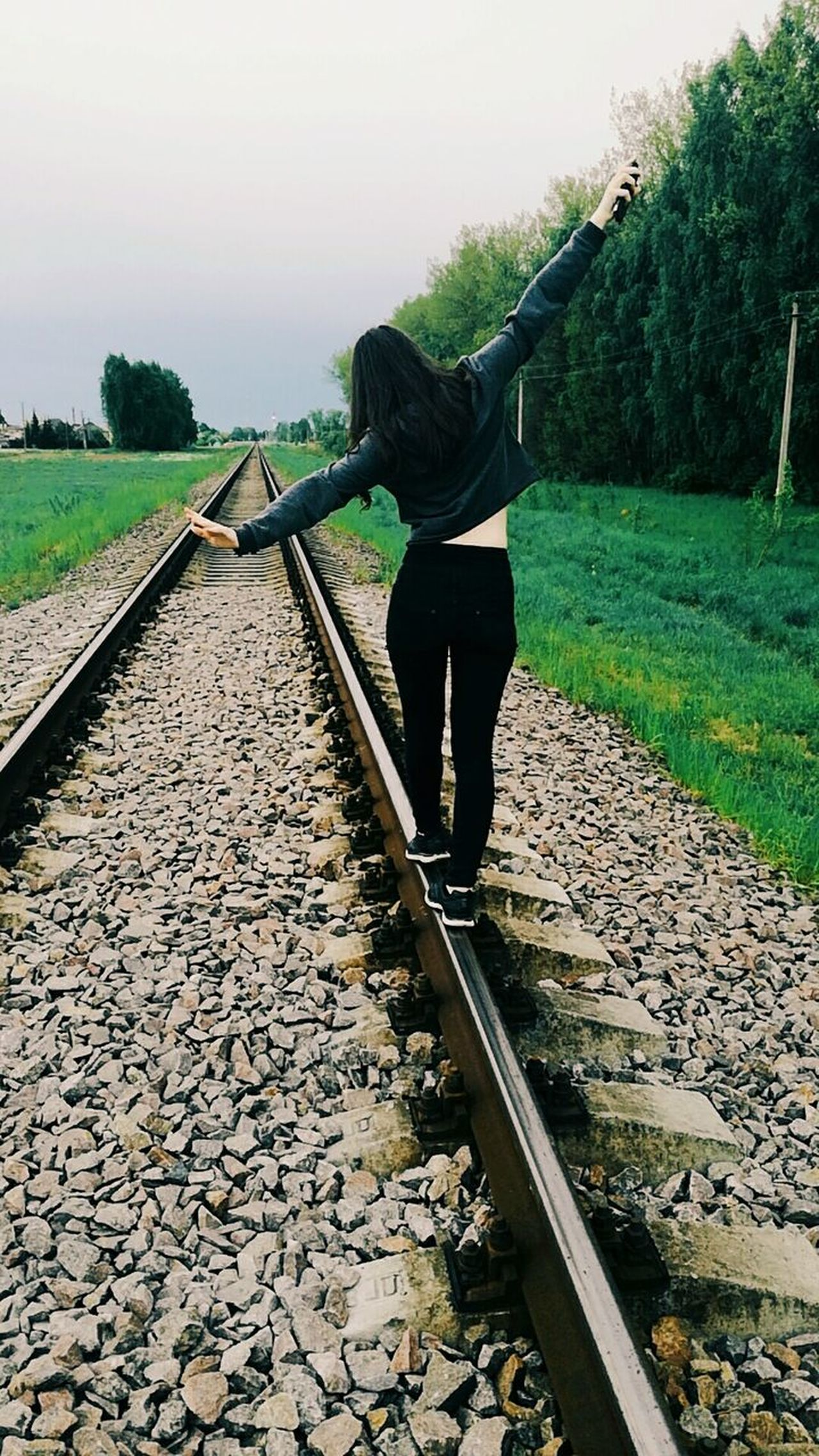 One Person Full Length Adult People Only Women Railroad Track Adults Only Human Body Part Day Outdoors Water Tree One Woman Only Working Women Sky Nature Young Adult Bff❤