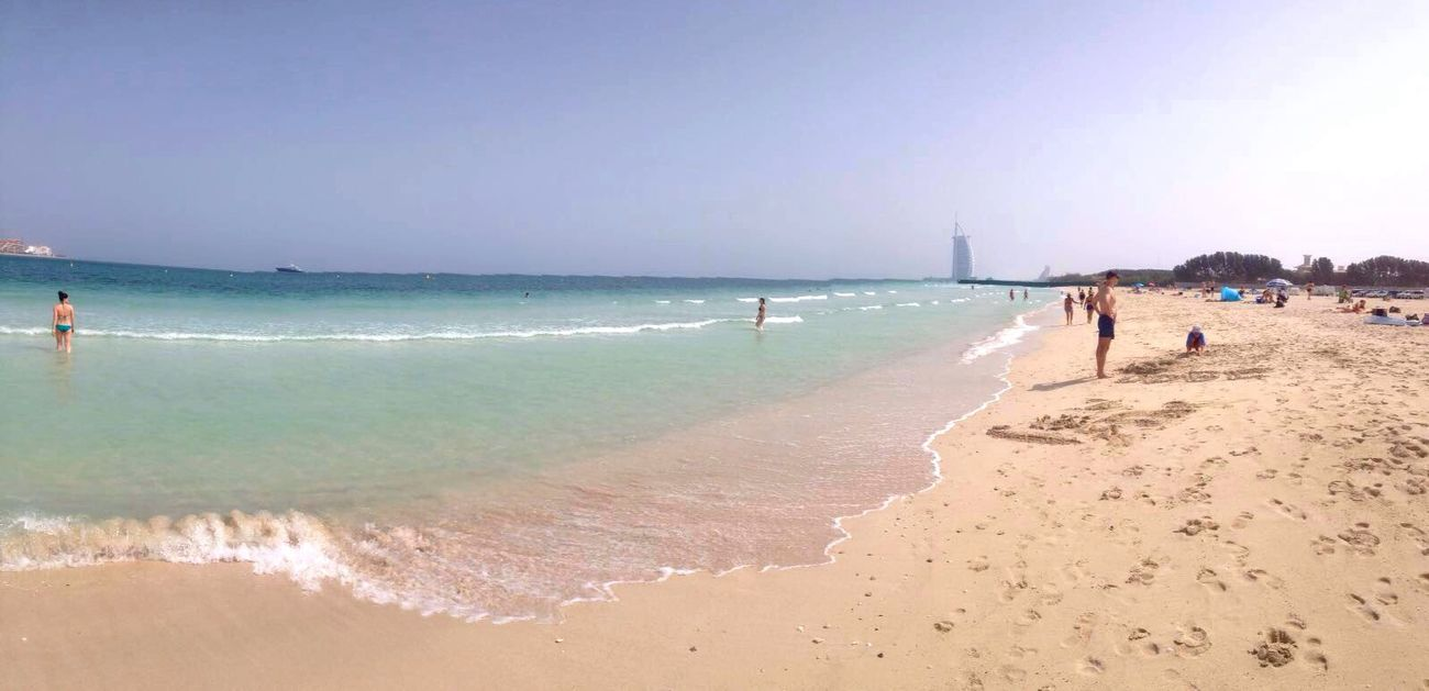 Secret Beach Dubai Beach Sea Burj Al Arab Relaxing Traveling Beautiful Eyem Best Shot - My World Blue Sky Taking Photos Theview Enjoying Life Hello World Beachphotography Dubai❤ Wave Beach Time Photography Dubaibeach