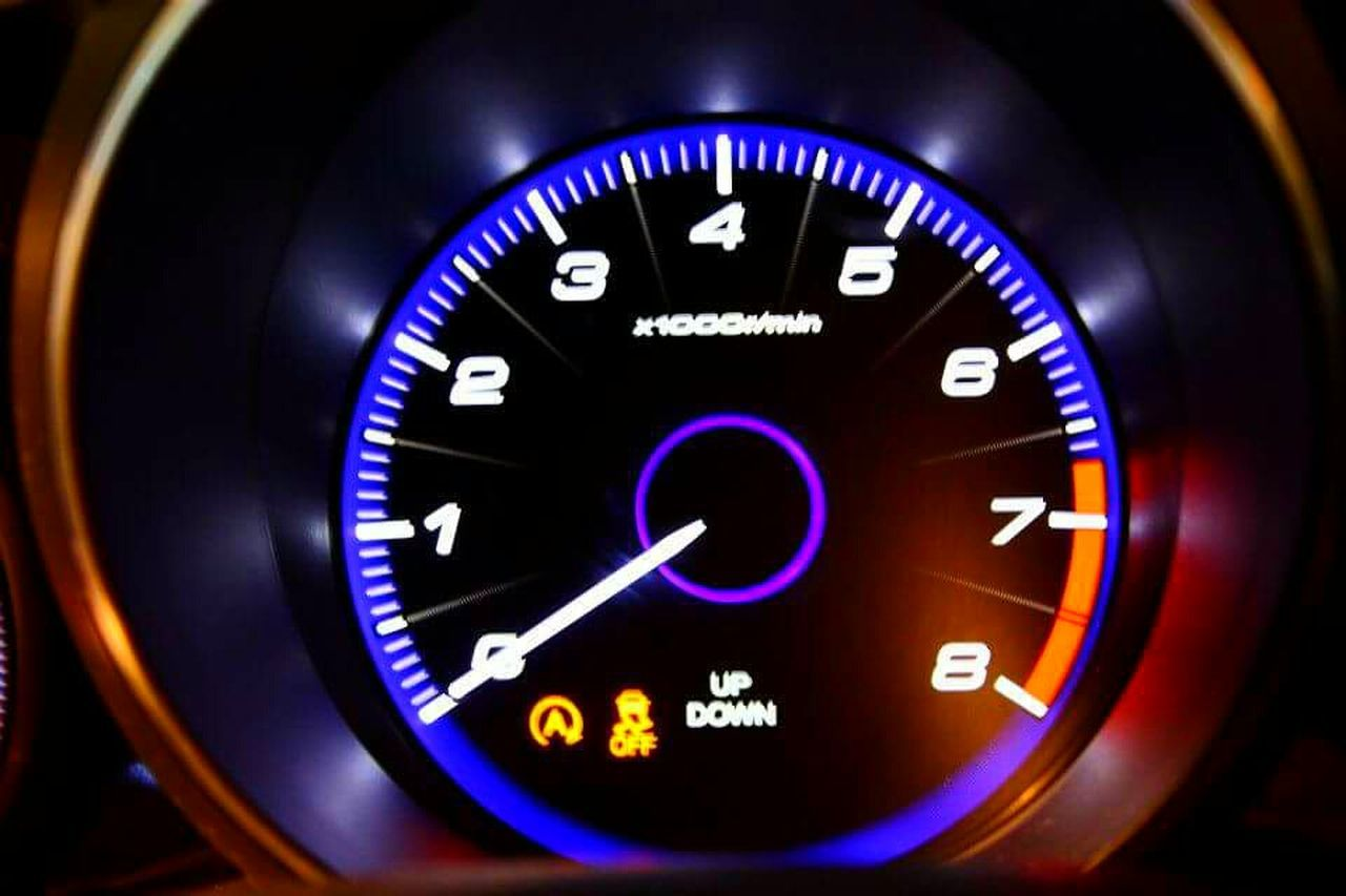 Car Blue Speedometer Speed Dashboard Close-up Driving Gauge Dark Sports Car Transportation Control Panel Engine Car Interior No People Clock Face Night Motorsport