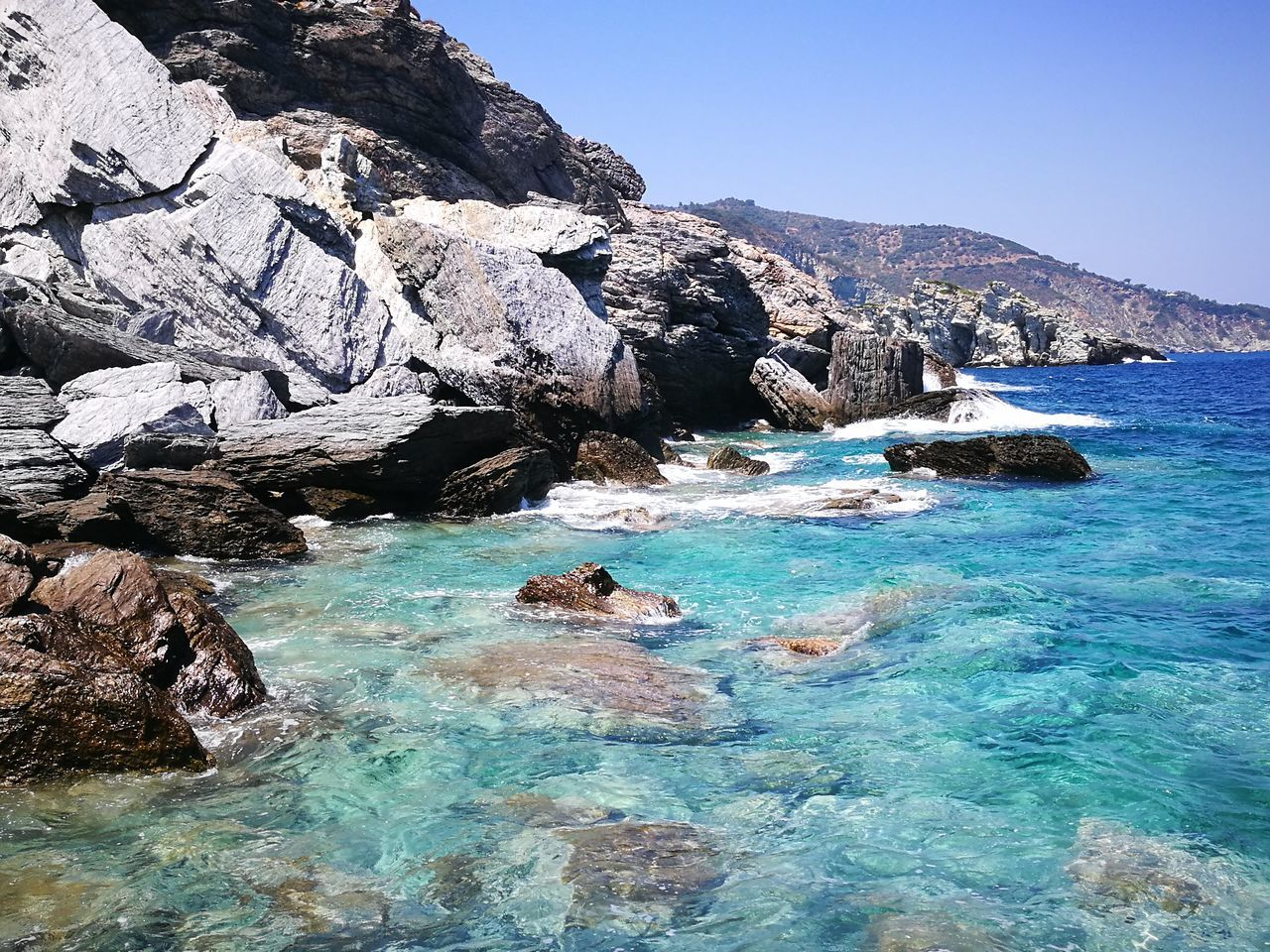 Skopelos Greek Island Mamma Mia Church Sea View Sea And Rocks Sporades Greece Greek Islands Greek Summer Island