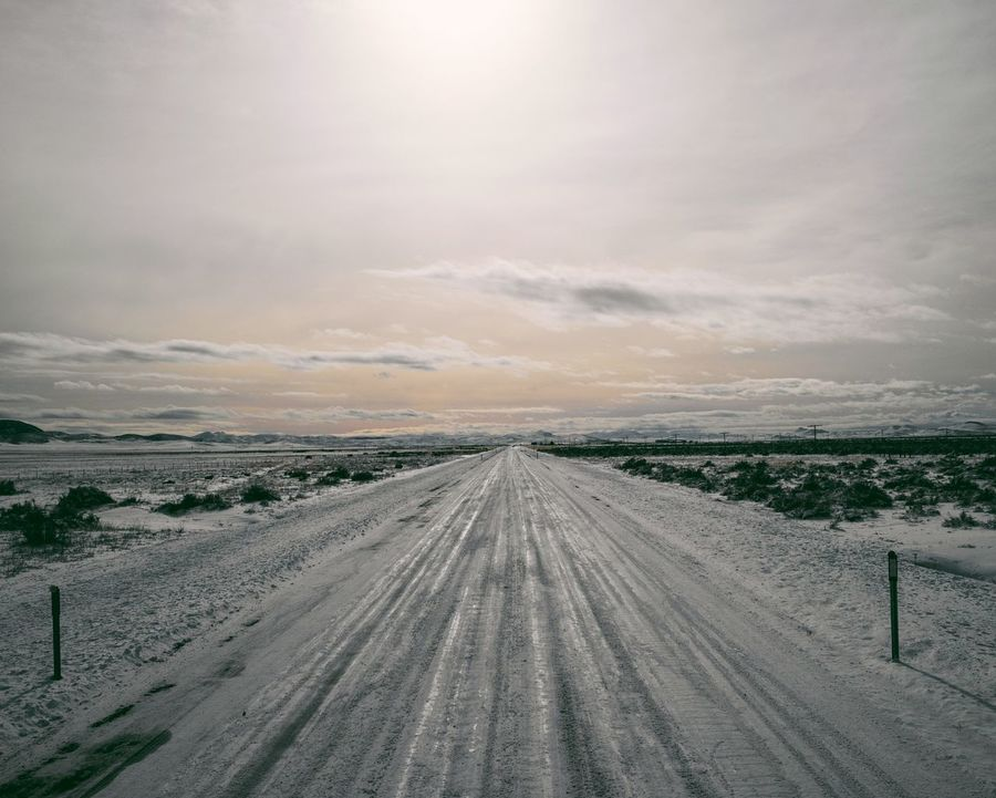 Nature Landscape The Way Forward Tire Track Outdoors Sky Beauty In Nature Scenics No People Day Roadtrip Cold Temperature Winter Snow Tranquil Scene This Week On Eyeem