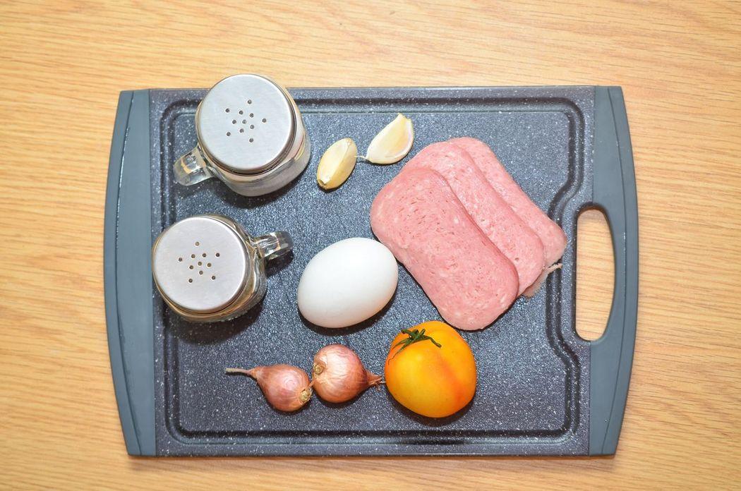 Bfast. Breakfast Flatlay Egg Tomato Salt And Pepper Onion Garlic Visual Feast