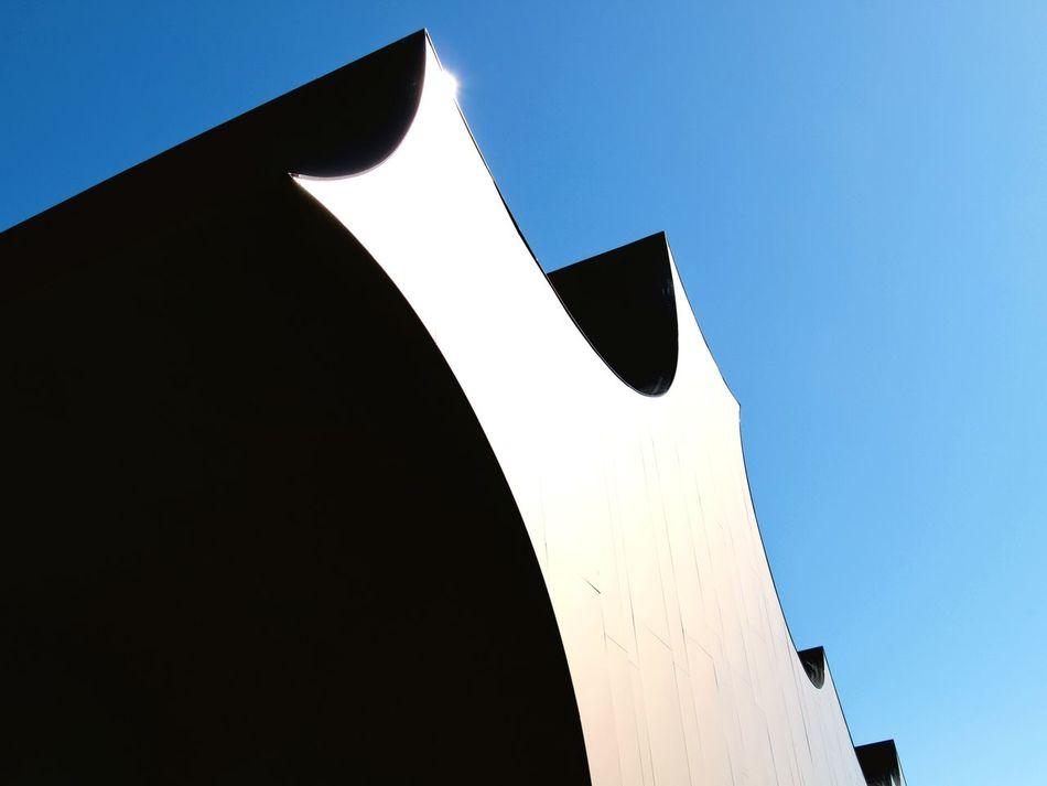 Architecture Outdoors Denmark, Building Exterior Blue Sky Blue Modern Sunlit Metal Metallic Reflection